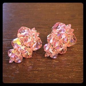 Pink Crystal Vintage ClipOn Earrings